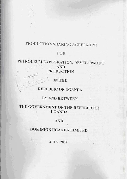 Ugandas Oil Production Sharing Agreement Psa Is Available Now