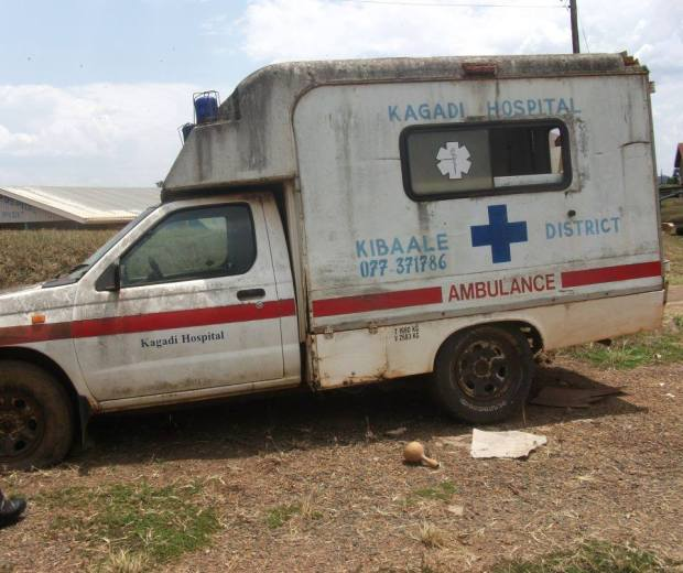 AN ABANDONED AMBULANCE AT KAGADI HOSPITAL in western Uganda