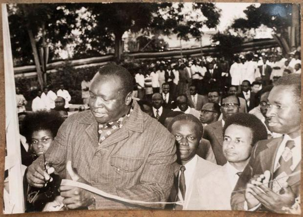 That is Henry Kyemba (then Minister of Health) to the right.