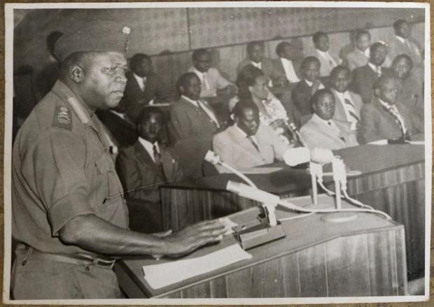 H.E. President Gen. Idi Amin gives his speech on the Anniversary of Economic war