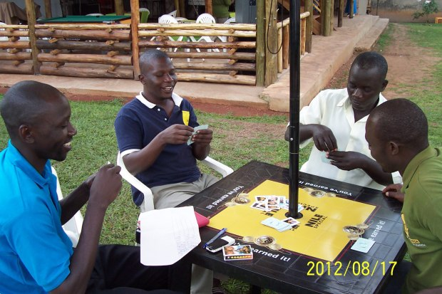 Men playing cards because there are no jobs