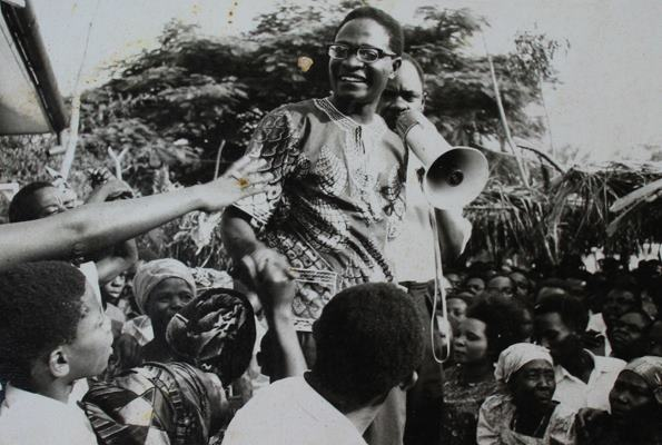 Benedicto Kiwanuka and Abu Mayanja, address a rally following Kiwanuka's release from prison in 1971. Kiwanuka was the leader of DP, one of the earliest political parties that has been part of Uganda's past and present.