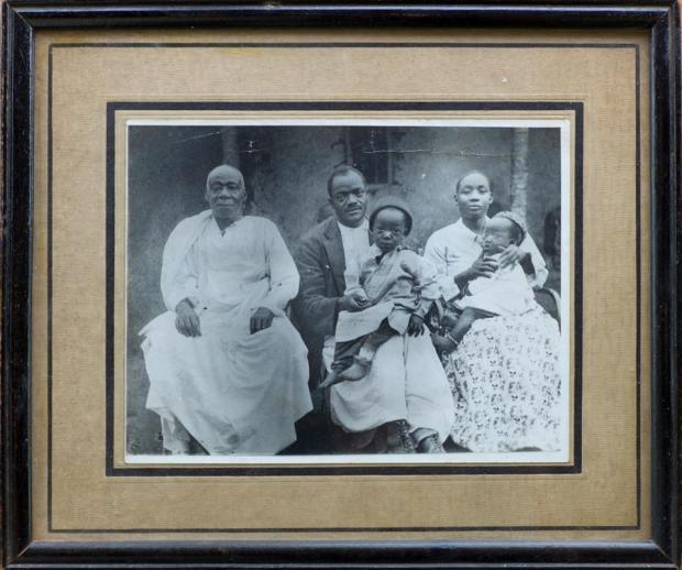 Mr & Mrs Ham & Hannah Mukasa. Robert & Dorothy Sebuliba. 1901. At Mengo outside his father's House near the post office in mengo