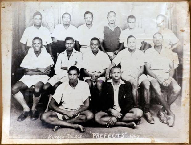 Busoga College prefects including a young Milton Obote (second row, second from the left)