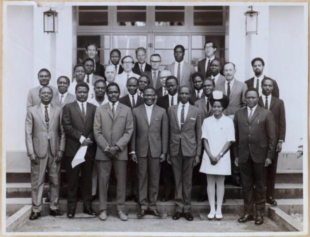 Uganda Tech. College Board Members & Staff with the Minister of Education - Abu Mayanja. 1971'