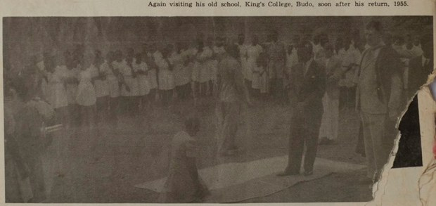'Again visiting his old school, King's College, Budo, soon after his return, 1955'