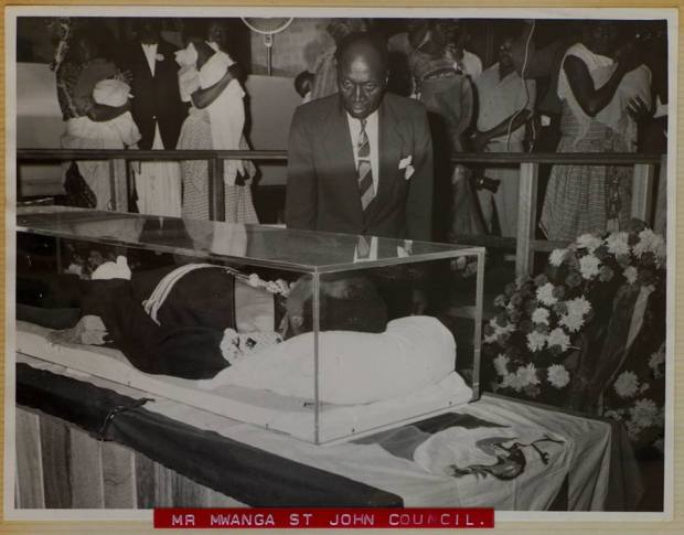 The gentleman viewing the body of Sir Edward Mutesa II is the late Robert Muwanga - he was the father of the current Auditor General of Uganda, John Muwanga.