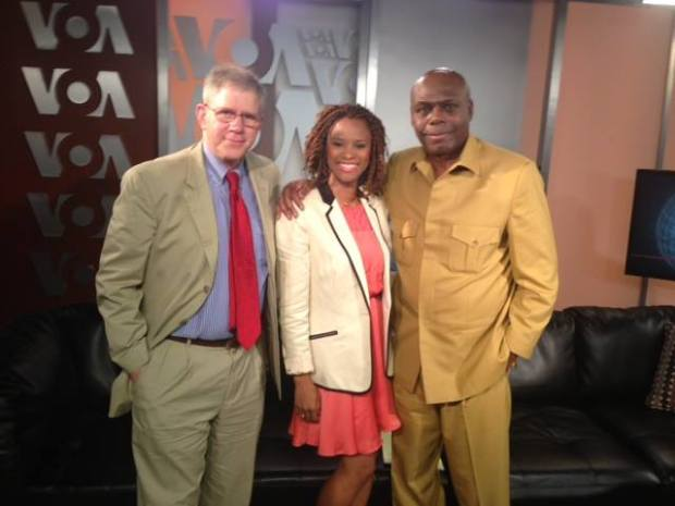 (L-R) Prof Joel Barkan, VOA's Mariama Diallo and Dr Shaka Ssali during last Wednesday's interview with Gen Sejusa