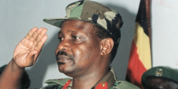 Maj Gen James Kazini who was clobbered on the head and had his skull split by a 6ft 6in thug- according to Gen.Sejusa