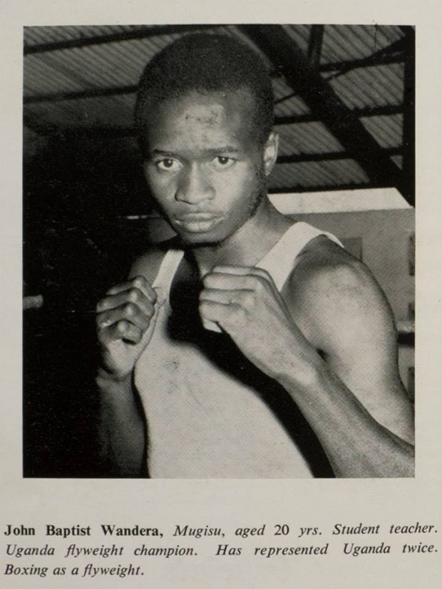 Uganda's Team Commonwealth Games Perth (Australia) 1962:John Baptist Wandera, Mugisu, aged 20yrs. Student teacher. Uganda flyweight champion.Represented Uganda twice. Boxing as a flyweight.