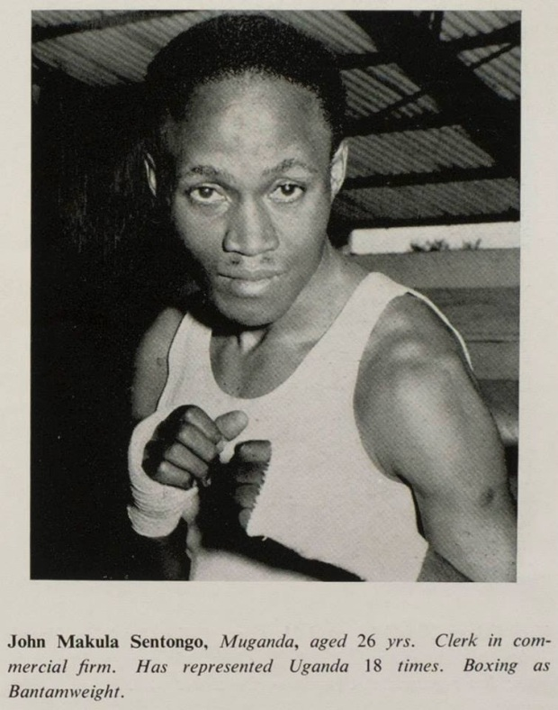John Makula Sentongo, Muganda, aged 26 yrs. Clerk in commercial firm. Has represented Uganda 18 times. Boxing as Bantamweight.'