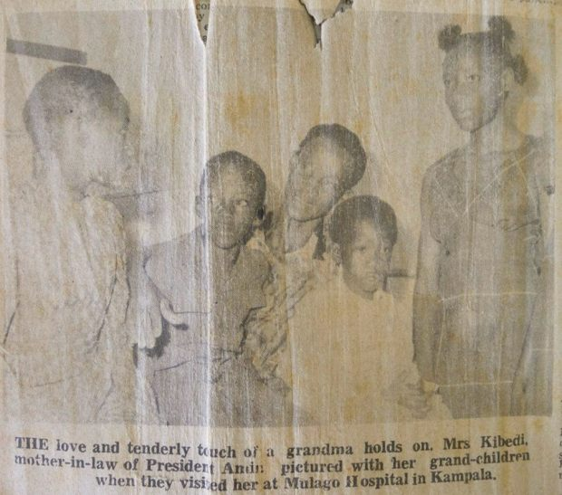 Voice of Uganda, Saturday January 15th, 1977 'The love and tenderly touch of a grandma holds on. Mrs Kibedi, mother-in-law of President Amin pictured with her grand-children when they visited her at Mulago Hospital in Kampala