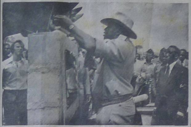 Voice of Uganda, Thursday Jan. 20th 1977 'President Amin lays the foundation stone of Lake Katwe, salt project in Rwenzori District, western Province, He said Uganda was working towards industrial selfreliance.'