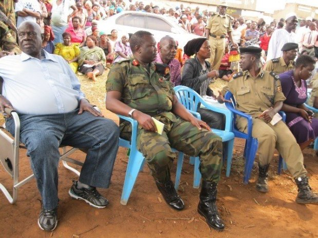 From Left to Right:Abdullah Nasur Former Central Province Governor in Late President Idd Amin,Chief of Staff Land Forces Major General Charles Angina,Central Eastern Police Regional Police Commander Richard Mivule.Although Nasur is no longer in leadership,In Bombo town council he is still refered as governor and Commands respect from masses.Bombo town council is dominated by Nubians.Nasur was their own and the town council was once named a municipality but NRM refused to upheld the status.