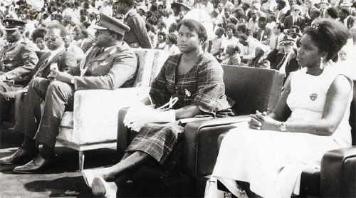 Idi Amin (third left) with first wife Malyamu Amin (second right) and other officials at a state function