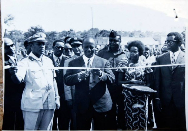 President Siad Barre of Somalia cuts a tape to change the name of Coryndon Street to Said Barre Avenue. At the back is president Idi Amin Dada, while on the extreme right is the minister of foreign affairs, mr. Wanume-Kibedi