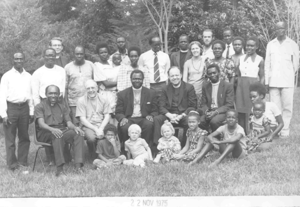 On a visit to Uganda Presiding Bishop Allin, center-right, sits with Archbishop Janani Luwum of Uganda, center-left, 1975