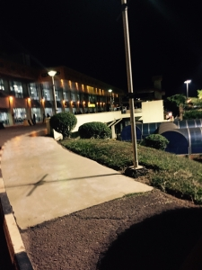 Outside Ebb airport at night