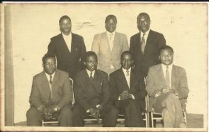 Some leading Ugandan civil servants of the 1960s -1980s. Seated L to R, George William Sooka Bakibinga, James Nyonyintono Zikusooka, Kalibbala, Albert Brewer Abaliwano. Standing, L, Professor Asavia Wandira; Extreme Right, Alfred Luba ( former Kampala City Engineer )