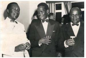 Binaisa (R) with Yusuf Lule on the left who had introduced a bank for Africans in 1959.4th President, 4th Prime Minister, and 5th President.